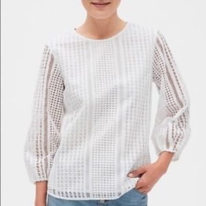Banana Republic white textured/dotted blouse